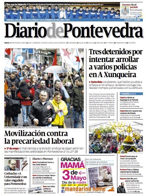 Julián Mámol portada del Diario de Pontevedra