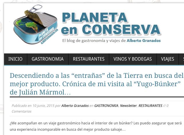 """Alberto Granados y su """"Planeta en Conserva"""" en Yugo The Bunker"""