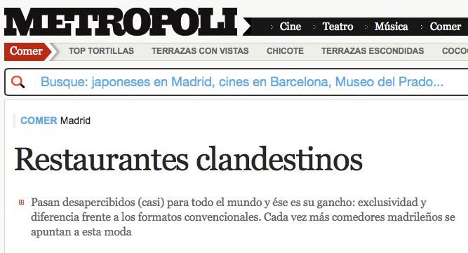 Restaurantes Clandestinos. Metropoli.