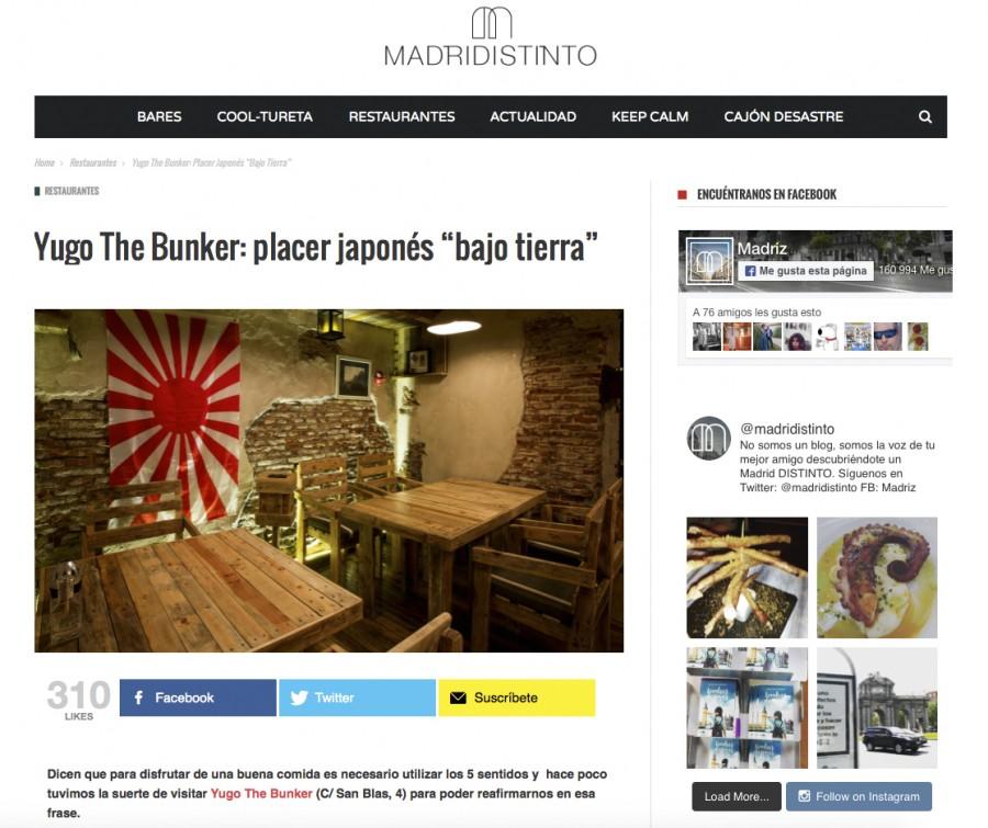 Yugo The Bunker, placer japonés bajo tierra. Madridistinto
