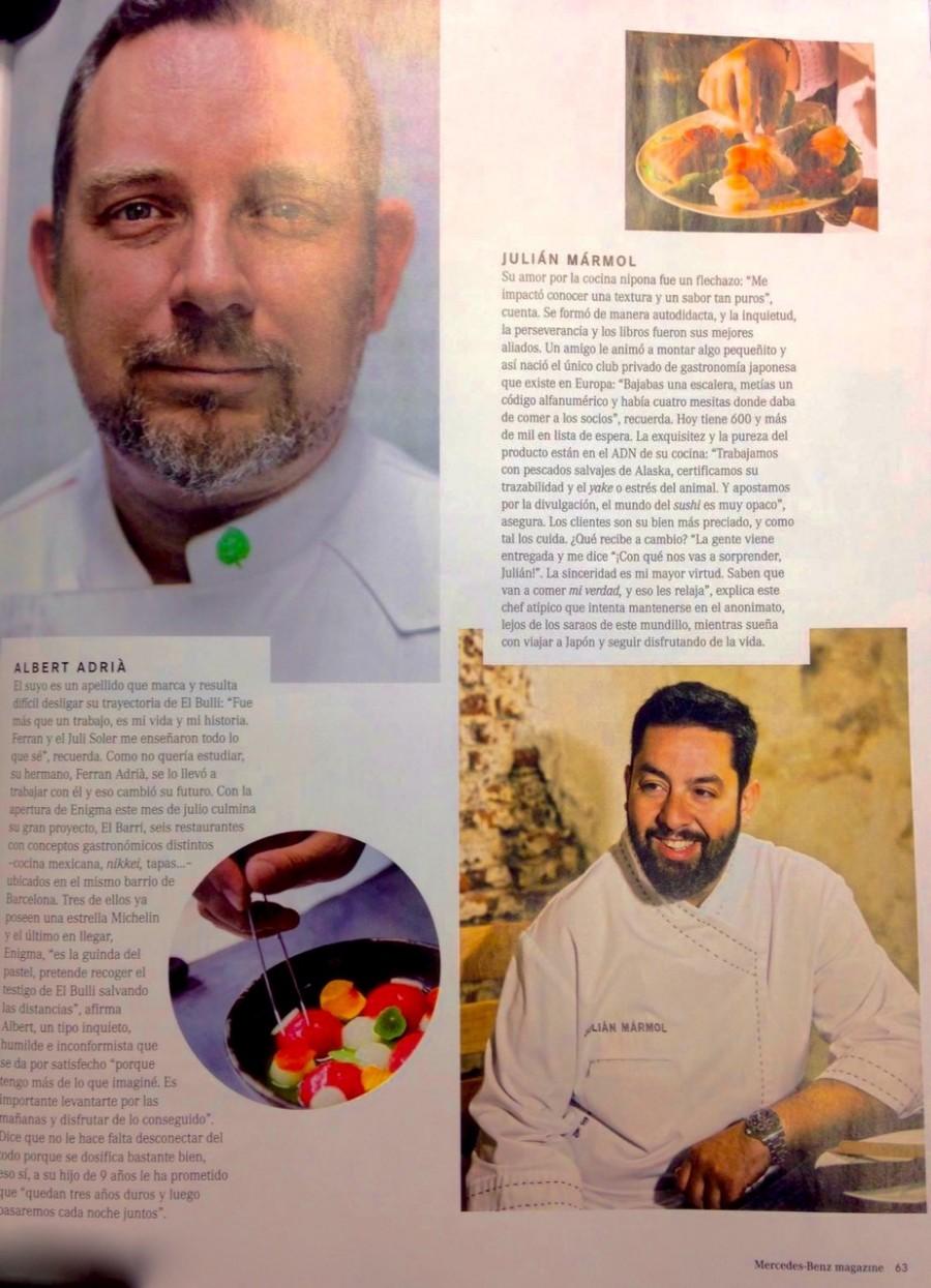 Julián Mármol y Albert Adriá en Merdeces-Benz Magazine